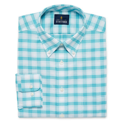 Stafford Travel Wrinkle-Free Stretch Oxford Big And Tall Mens Button Down Collar Long Sleeve Wrinkle Free Stretch Dress Shirt