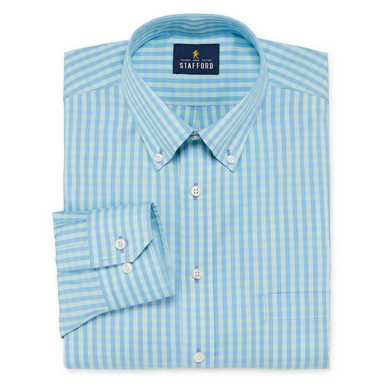 Stafford Executive Non Iron Cotton Pinpoint Oxford Big And Tall Mens Button Down Collar Long Sleeve Stretch Dress Shirt