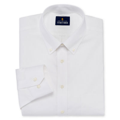 Stafford Executive Non-Iron Cotton Pinpoint Oxford Big And Tall Mens Button Down Collar Long Sleeve Stretch Dress Shirt