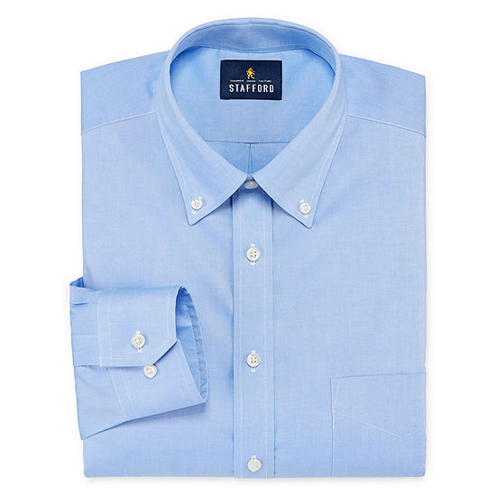 Stafford Mens Non-Iron Cotton Pinpoint Oxford Button Down Collar Stretch Big and Tall Dress Shirt