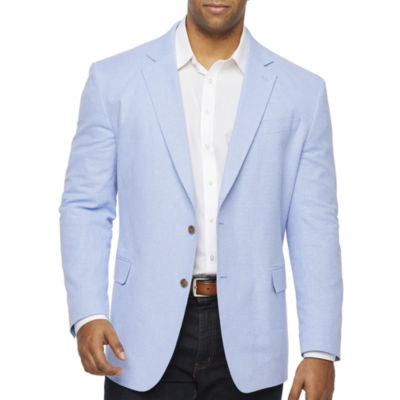 Stafford Linen Cotton Basketweave Classic Fit Sport Coat - Big and Tall