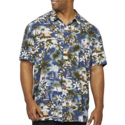 The Foundry Big & Tall Supply Co. Mens Short Sleeve Button-Front Shirt Big and Tall
