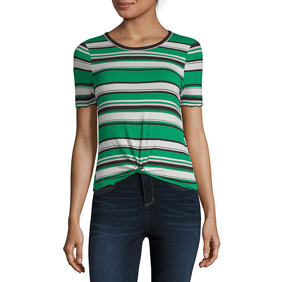 Almost Famous Short Sleeve Round Neck Stripe T-Shirt-Womens Juniors