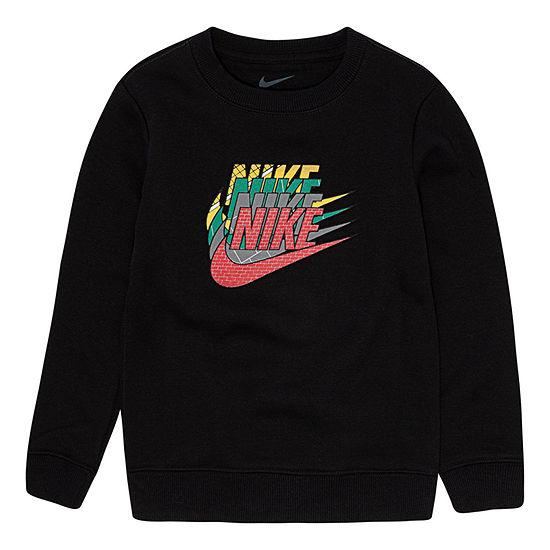 Nike Boys Crew Neck Long Sleeve T-Shirt-Toddler