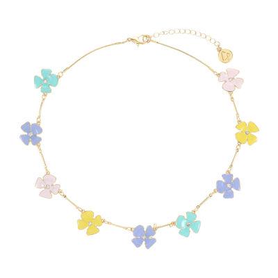 Liz Claiborne 17 Inch Link Flower Collar Necklace