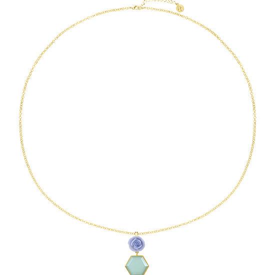 Liz Claiborne 34 Inch Cable Flower Pendant Necklace