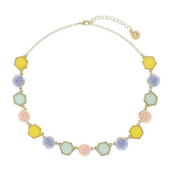 Liz Claiborne 17 Inch Cable Flower Collar Necklace