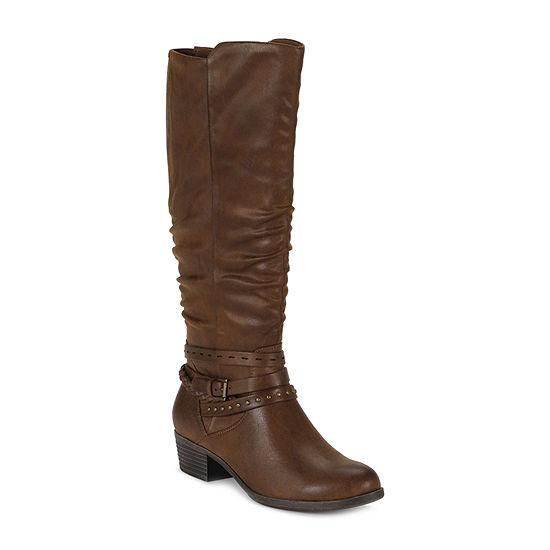 Yuu Womens Nenah Block Heel Wide Width Riding Boots