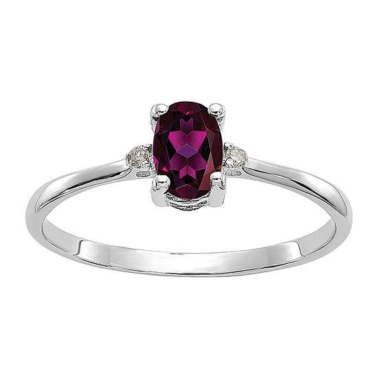 Genuine Red Rhodolite Diamond-Accent 14K White Gold Ring