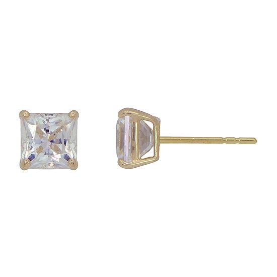 White Cubic Zirconia 14K Gold 6mm Stud Earrings
