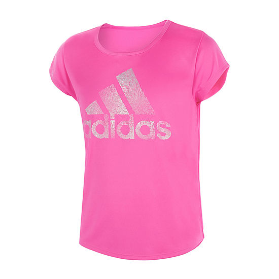 adidas Big Girls Scoop Neck Short Sleeve Graphic T-Shirt