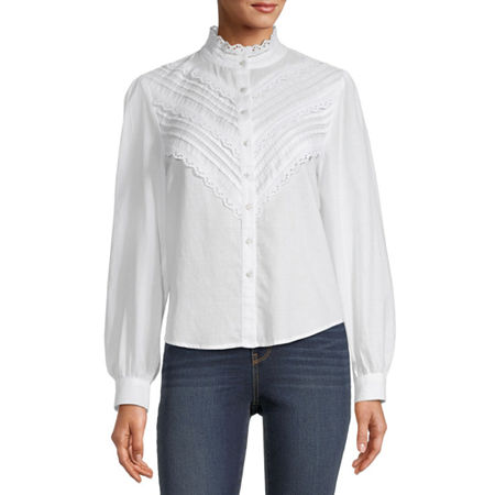 Victorian Blouses, Tops, Shirts, Sweaters a.n.a. Womens Long Sleeve Blouse X-large  White $18.74 AT vintagedancer.com