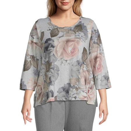 Alfred Dunner Plus Glacier Lake-Womens Round Neck 3/4 Sleeve T-Shirt, 3x , Gray