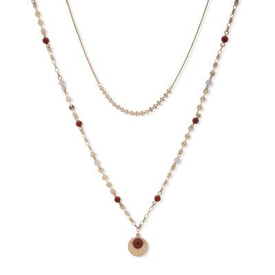 a.n.a Semi Precious Jasper 36 Inch Rope Pendant Necklace