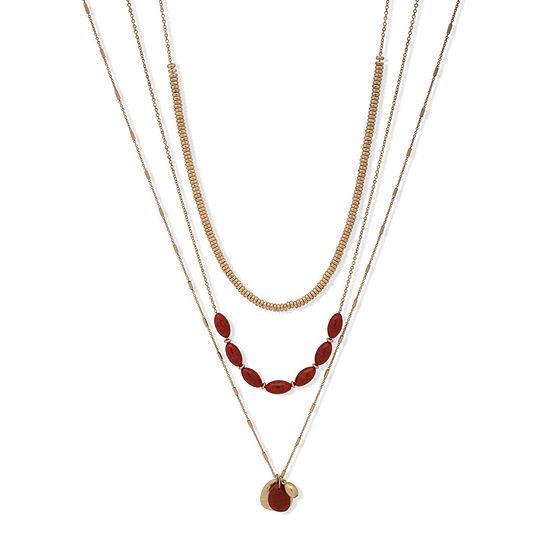 a.n.a Semi Precious Jasper 36 Inch Rolo Strand Necklace
