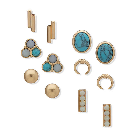 a.n.a 6 Pair Reconstituted Turquoise Earring Set