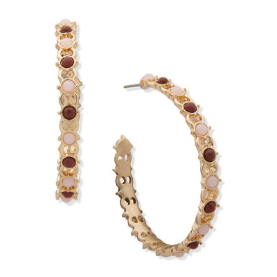 a.n.a Semi Precious Jasper Hoop Earrings