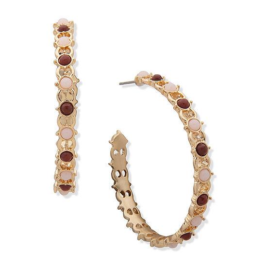 a.n.a Semi Precious Jasper Hoop Earrings