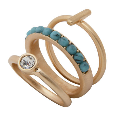 a.n.a 3-pc. Reconstituted Turquoise Stackable Ring