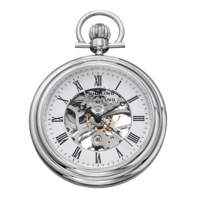 Stührling® Original Mens Stainless Steel Skeleton Automatic Pocket Watch