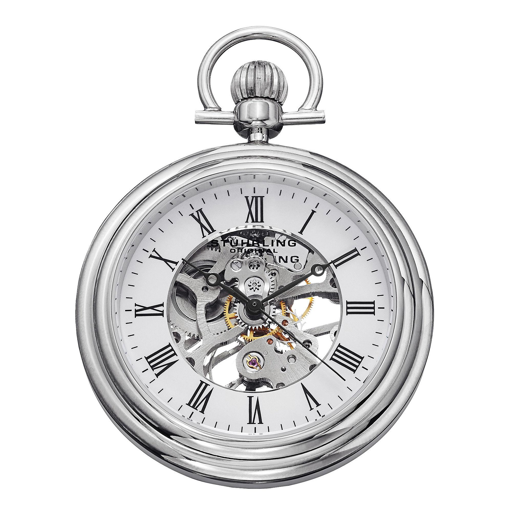 Sthrling Original Mens Stainless Steel Skeleton Automatic Pocket Watch