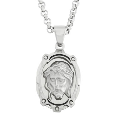 Diamond-Accent Jesus Stainless Steel Medal Pendant Necklace