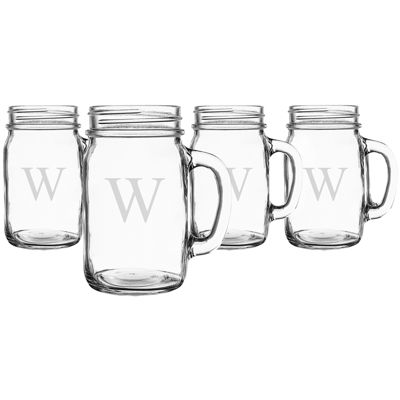Cathy's Concepts Personalized Set of 4 Old-Fashioned Glass Mason Jars