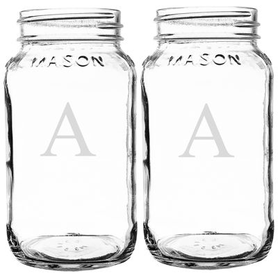 Cathy's Concepts Set of 2 Personalized 26-oz. Glass Mason Jars
