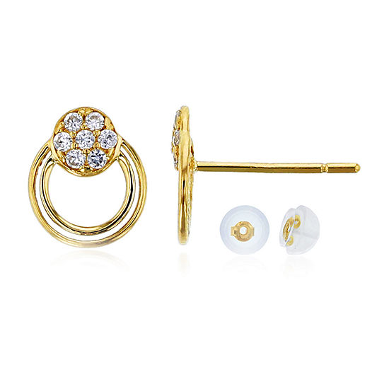 1/8 CT. T.W. Simulated White Cubic Zirconia 14K Gold 8mm Round Stud Earrings