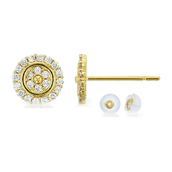 3/8 CT. T.W. White Cubic Zirconia 14K Gold 6.5mm Round Stud Earrings