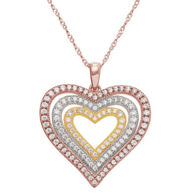 Diamonart Womens White Cubic Zirconia 14K Tri-Color Gold Over Silver Heart Pendant Necklace