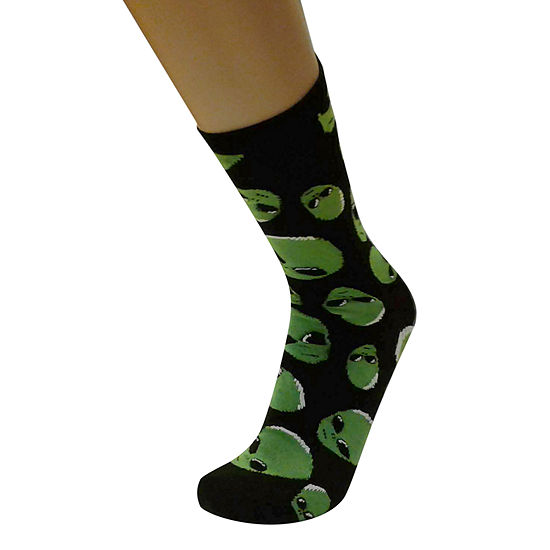 Alien Heads 1 Pair Crew Socks - Mens