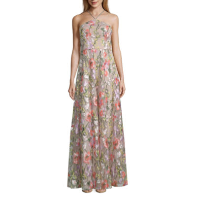 My Michelle Sleeveless Embroidered Evening Gown-Juniors