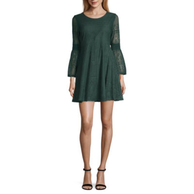 My Michelle 3/4 Sleeve Fit & Flare Dress-Juniors