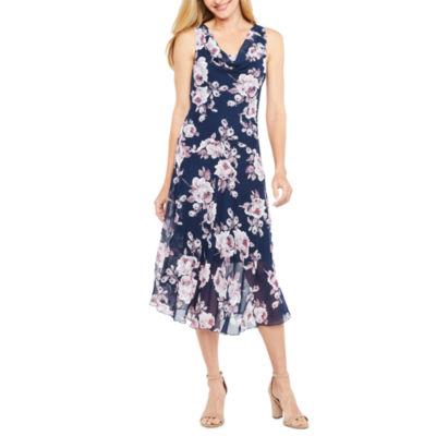 Robbie Bee Sleeveless Floral Midi Dress