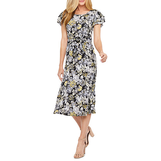 Perceptions Short Sleeve Floral Puff Print Fit Flare Dress