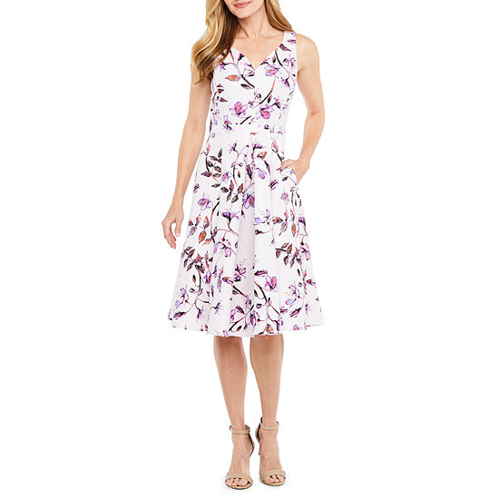 Danny Nicole Sleeveless Floral Fit Flare Dress