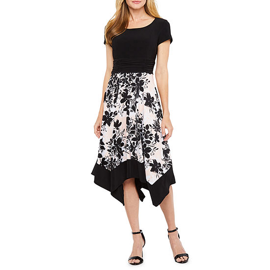 Perceptions Short Sleeve Floral Fit Flare Dress