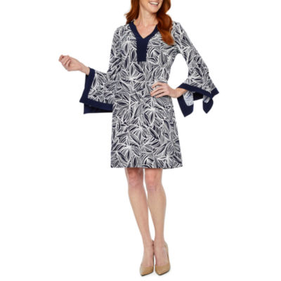 Perceptions Long Split Sleeve Leaf Puff Print Shift Dress