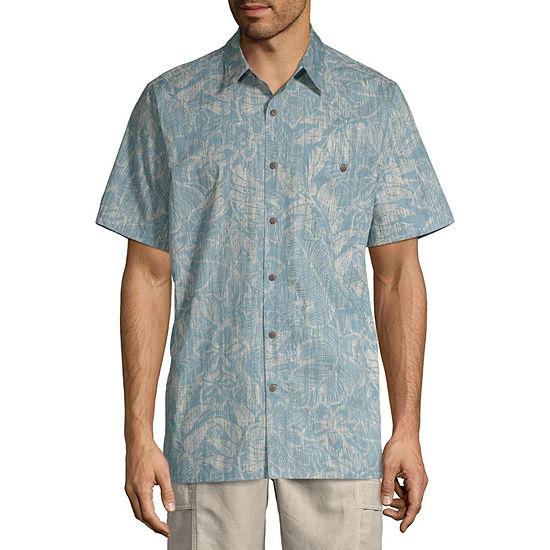 Island Shores Mens Short Sleeve Button Front Shirt