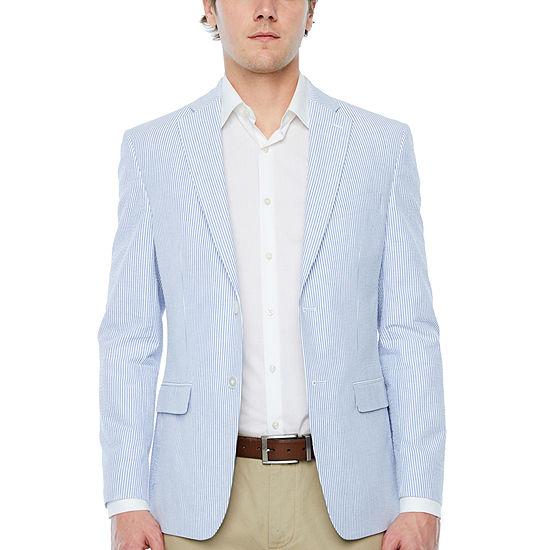 IZOD Mens Blue Seersucker Classic Fit Sport Coat