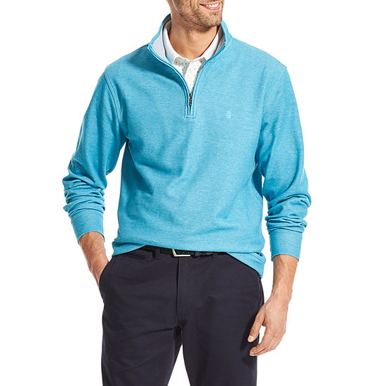 IZOD Saltwater Mens Mock Neck Long Sleeve Quarter-Zip Pullover
