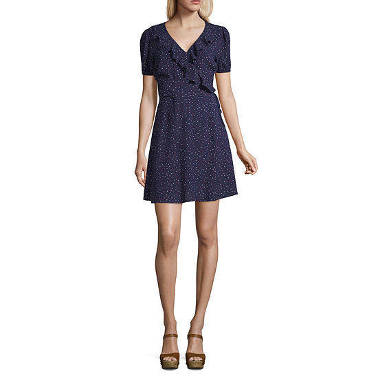 Society And Stitch Short Sleeve Polka Dot Fit & Flare Dress-Juniors