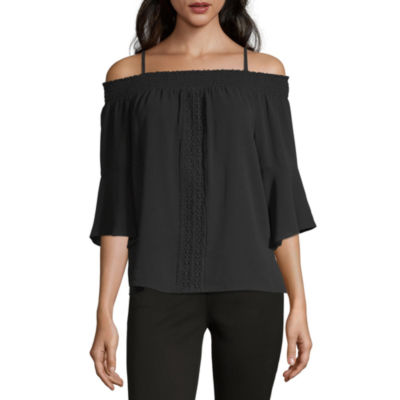 by&by Womens Square Neck Long Sleeve Blouse-Juniors