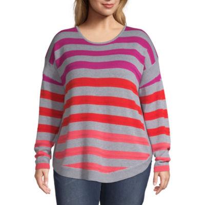 St. John's Bay Striped Pullover Sweater - Plus