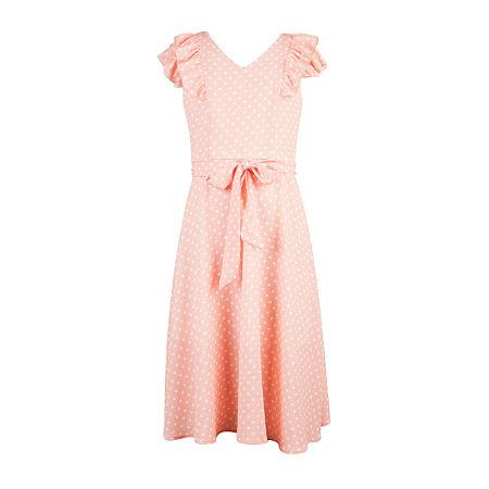 1930s Children's Fashion: Girls, Boys, Toddler, Baby Costumes Speechless Big Girls Short Sleeve Polka Dot Maxi Dress 10  Pink $23.99 AT vintagedancer.com