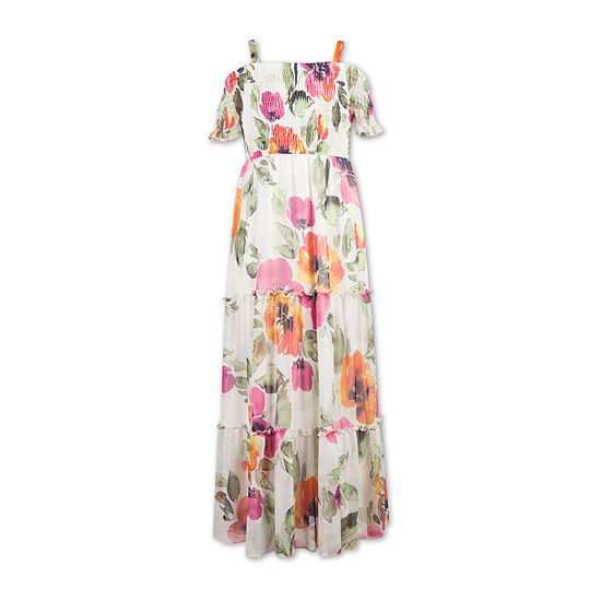 Speechless Big Girls Short Sleeve Cold Shoulder Sleeve Floral Maxi Dress