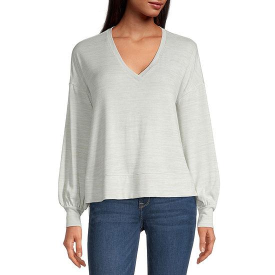 a.n.a. Tall Womens V Neck Long Sleeve T-Shirt