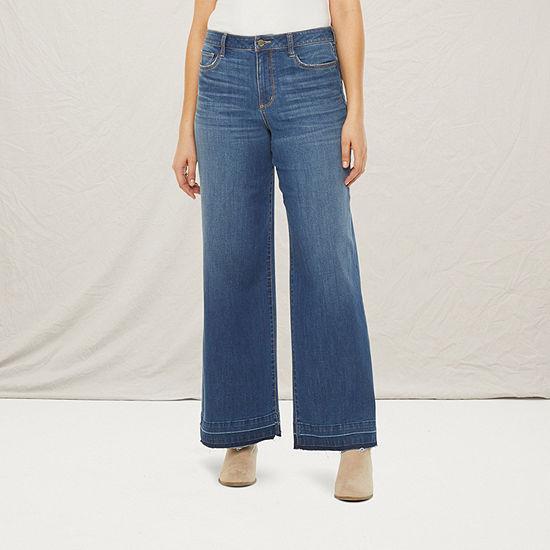 a.n.a. Womens Tall High Rise Regular Fit Wide Leg Trouser Jean