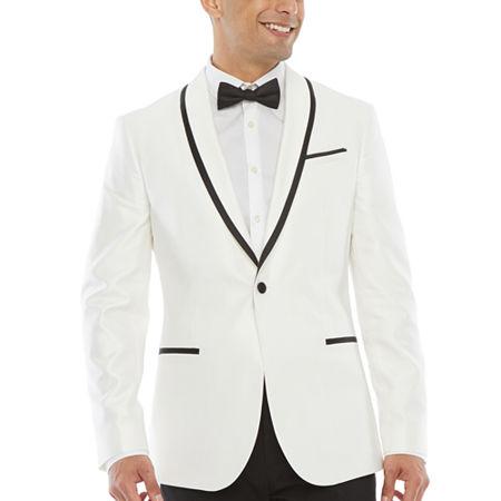New Vintage Tuxedos, Tailcoats, Morning Suits, Dinner Jackets JF J.Ferrar Mens Slim Fit Tuxedo Jacket 44 Regular White $58.80 AT vintagedancer.com